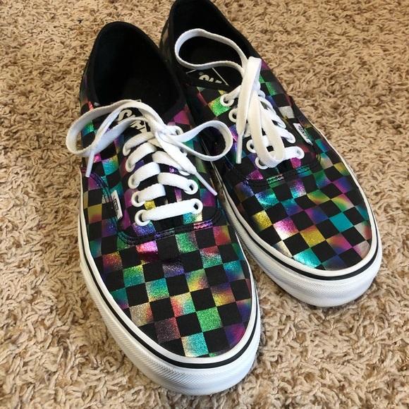 Vans Shoes   Metallic Rainbow Checkered